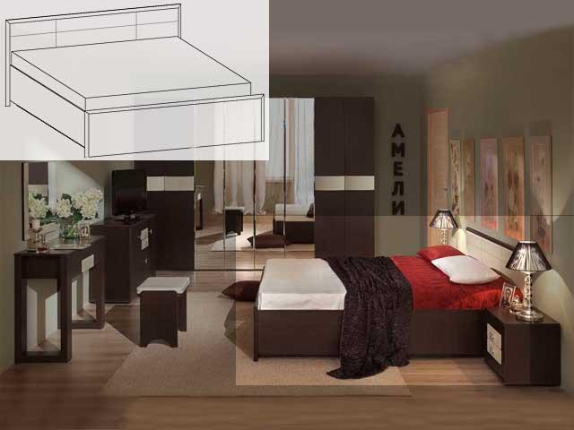 """Кровать """"Амели-3"""" 1400 б/орт"""