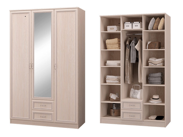 Шкаф 3-х дверный с зеркалом и ящиками