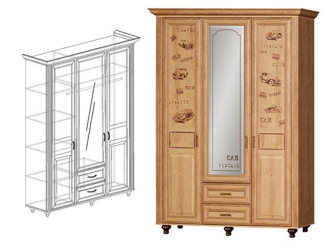 №863 Шкаф 3-дверный