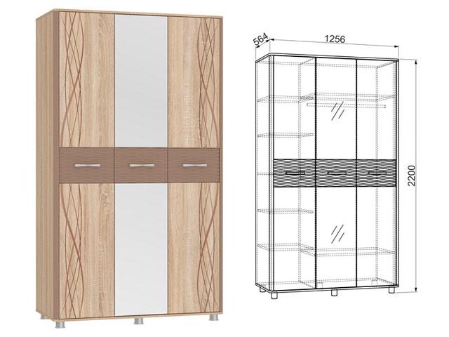 . Шкаф 3-створчатый.