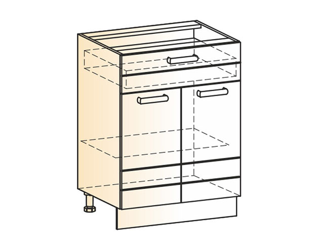 . Шкаф рабочий L600 (2дв.гл.1ящ.).