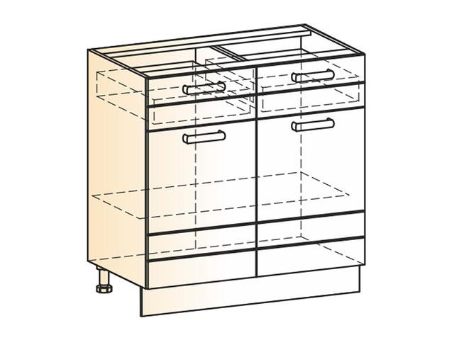 Шкаф рабочий L800 (2дв.гл.2ящ.)