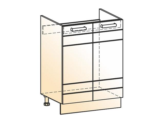 . Шкаф рабочий под мойку L600 (2дв.гл.).