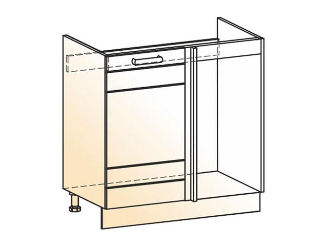 . Шкаф рабочий под мойку угл. L800 (1дв.гл.).