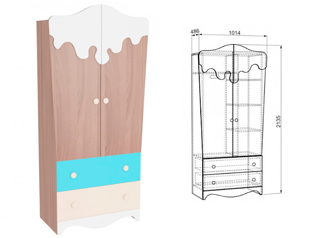 . Шкаф 2-х створчатый с ящиками.