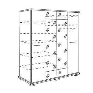 Мод.13, Шкаф для одежды 4-х двер (с зерк)