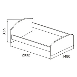 . Кровать щитовая 2032 х1480 х840 (без орт. основания).