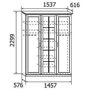 Мод.5 Шкаф для платья и белья (3-х дв.)