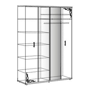 Шкаф для одежды с зеркалом (4-х дв.) №2