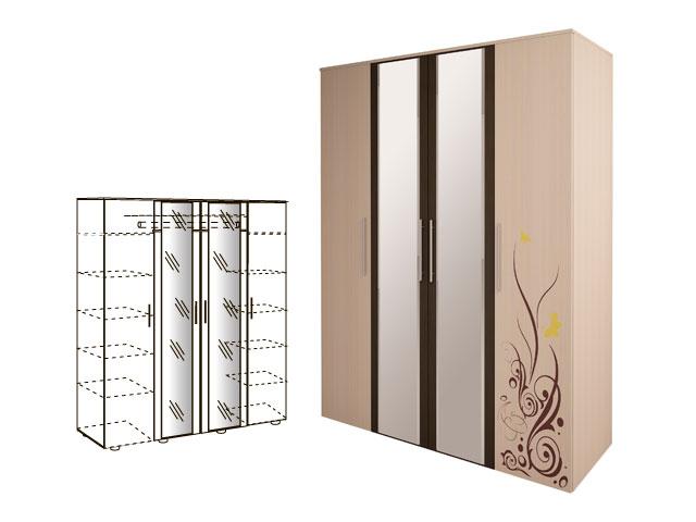 Мод.5, Шкаф для одежды с зерк (4-х дв)