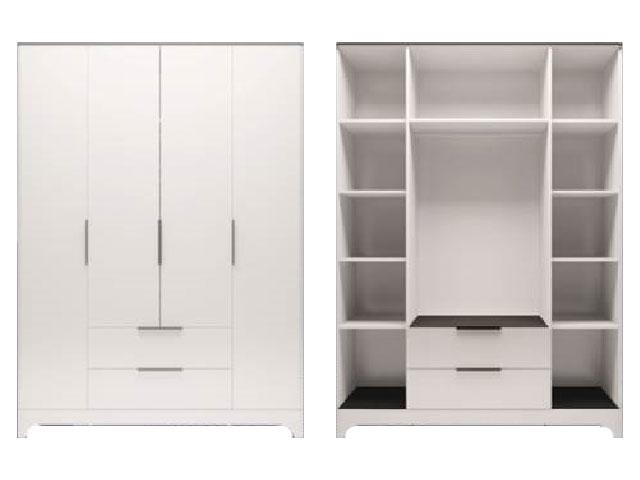 . мод.2 Шкаф для обежды 4-х дверный с ящиком без зеркал.