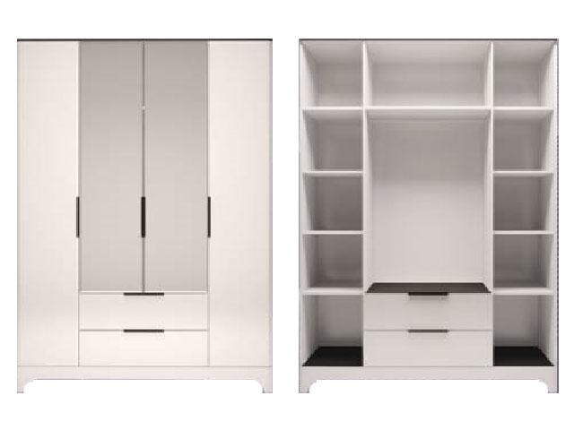 мод.2 Шкаф для обежды 4-х дверный с ящиком с зеркалом