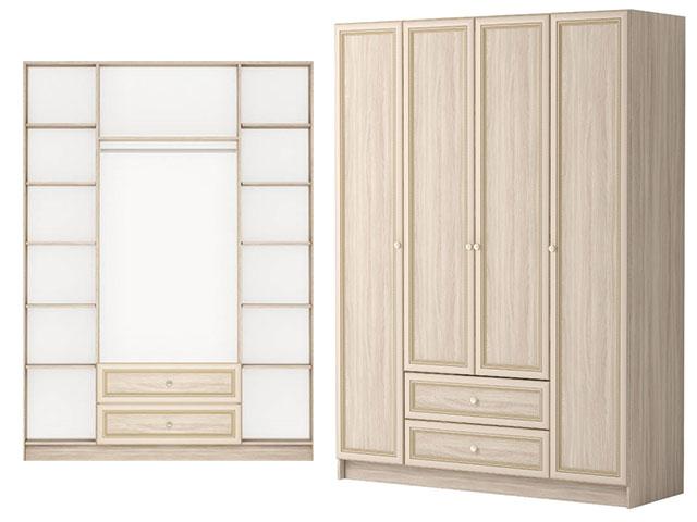 . мод.25 Шкаф комбинированный 4-х дв. с ящиком без зеркала.