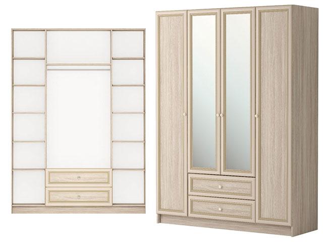 . мод.25 Шкаф комбинированный 4-х дв.с ящиком с зеркалом.