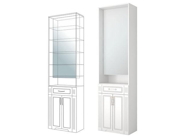 . №23 Шкаф комбинированный с зеркалом (белый).