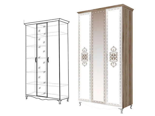 . мод.9 Шкаф для одежды 3-х двер (с зеркалом).