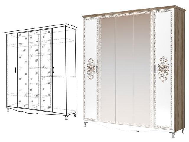 . мод.2 Шкаф-гармошка для одежды 5-ти двер (с 3 зеркалами).