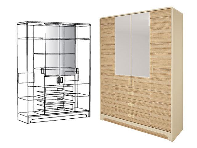 . мод.2 Шкаф для одежды с ящиками (4-х дв.).