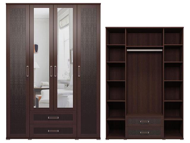 . мод.1 Шкаф для одежды с ящиками (с зеркалами).