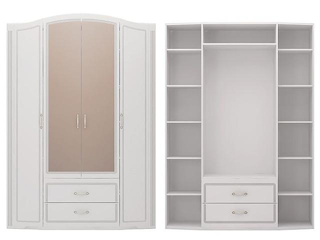№2 Шкаф для одежды с зерк (белый)