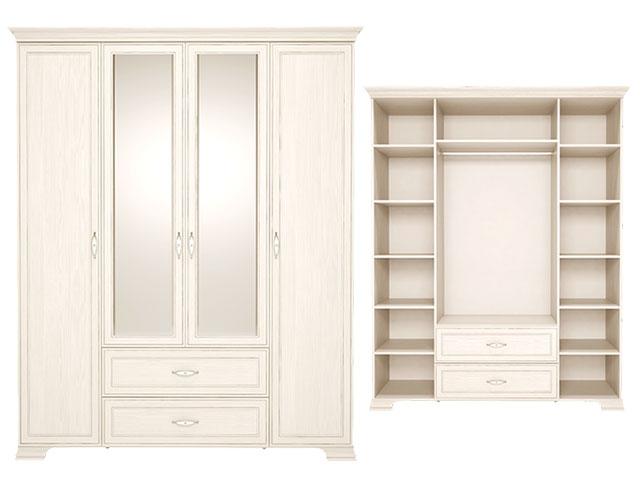 . 2 Шкаф для одежды 4-х дверный с ящиками с зеркалом.