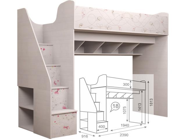 18 Кровать чердак (с лестницей)
