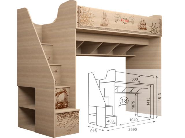 . 18 Кровать чердак (с лестницей).