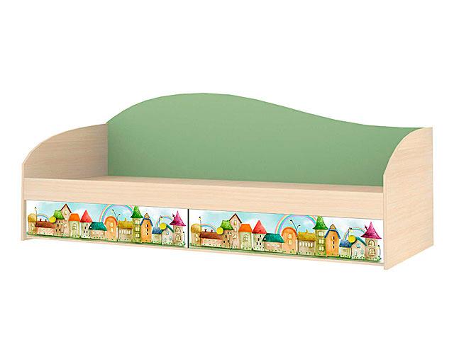 Мод.6 Кровать одинарная б/орт (синий)