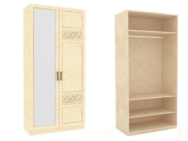 ЛД 625050.000 М шкаф 2-х створчатый (1 дверь 1 зеркало) Молочный