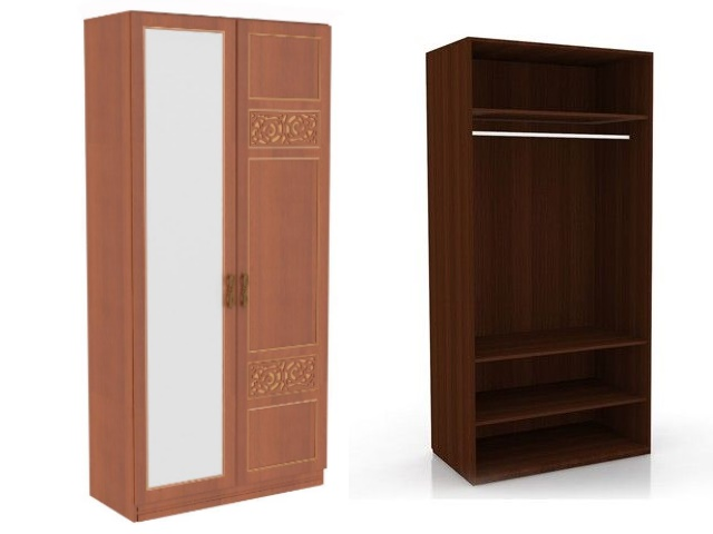 ЛД 625050.000 М шкаф 2-х створчатый (1 дверь 1 зеркало) Орех