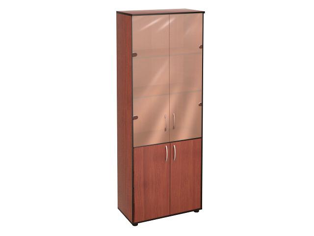 Шкаф 5 секций деревянные + стеклянные дверки