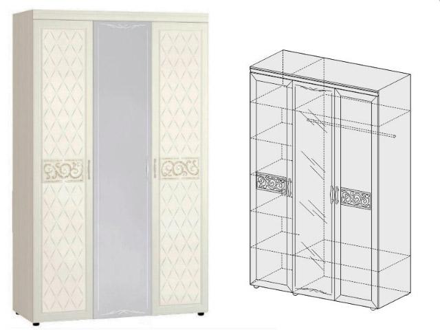 Шкаф трехдверный с зеркалом 93.12
