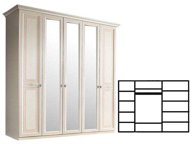 . Шкаф 5-и дв. с зеркалами для платья и белья (АНШ1/5).