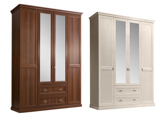 Шкаф 4-х дв.(с зеркалами) для платья и белья с ящиками