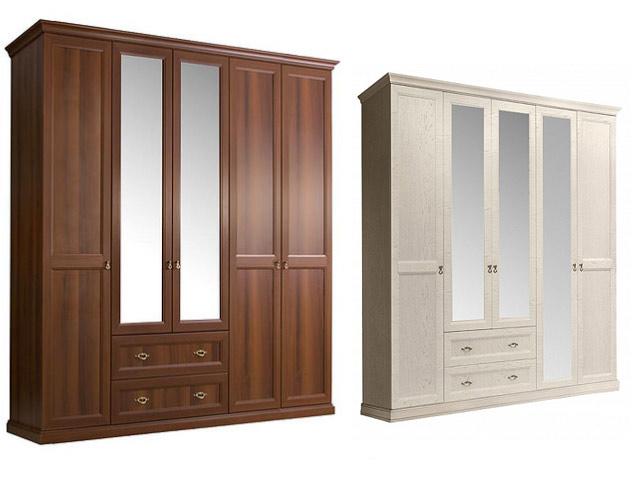 Шкаф 5-и дв.(с зеркалами) для платья и белья с ящиками