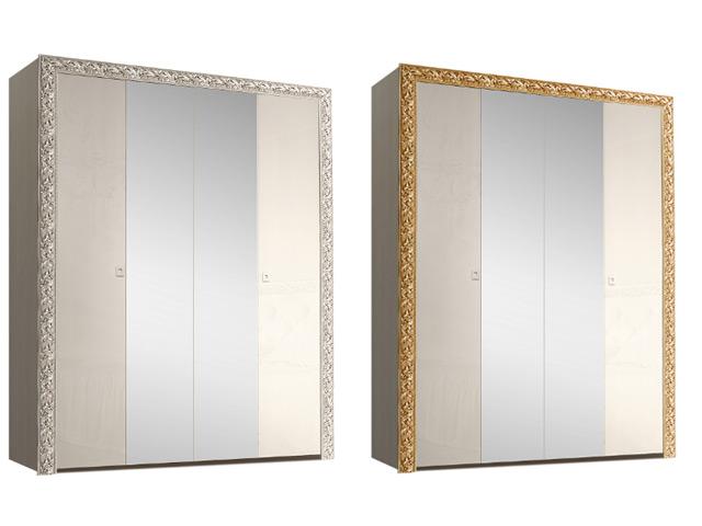 . Шкаф 4-х дв. для платья и белья (с зеркалами).