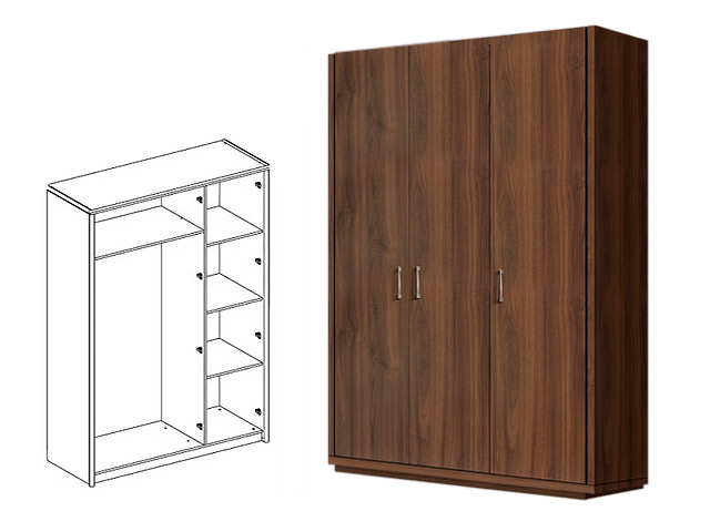 . Шкаф 3-х дв. (без зеркал) для платья и белья.