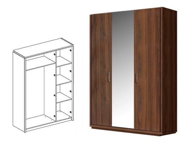 . Шкаф 3-х дв. (с зеркалом) для платья и белья.