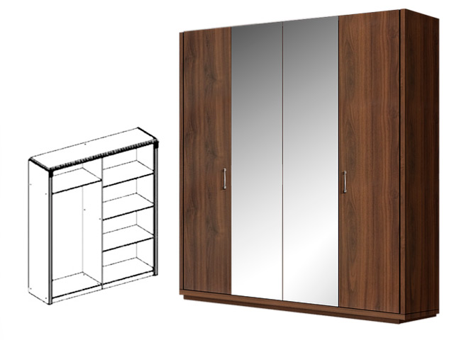 . Шкаф 4-х дв. (2 зеркала) для платья и белья.