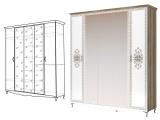мод.2 Шкаф-гармошка для одежды 5-ти двер (с 3 зеркалами)