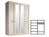 Шкаф 4-х дв. 2 зеркала для платья и белья (АНШ1/4)