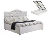 Кровать 1600 мягкая с п/мех белая (АМКР-4[3])