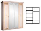 Шкаф 4-х дв. (с зеркалами) для платья и белья