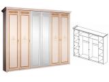 Шкаф 6-ти дв. (с зеркалами) для платья и белья
