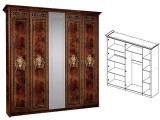 Шкаф 5-ти дв. (с зеркалами) для платья и белья