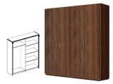 Шкаф 4-х дв. (без зеркал) для платья и белья