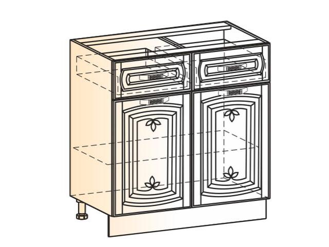 Шкаф рабочий L800 (2 дв. гл. 2 ящ.)